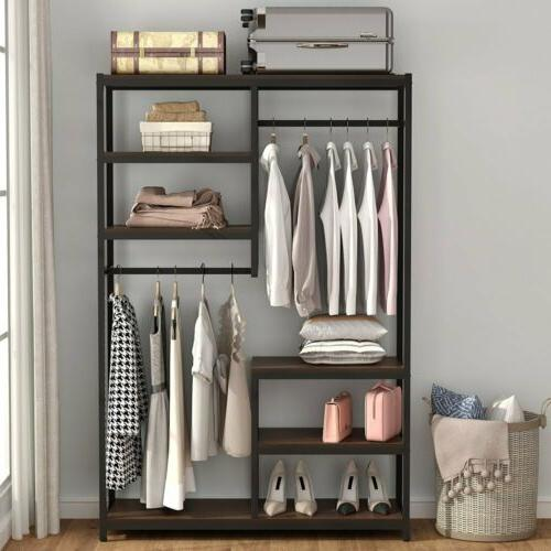 Clothes Garment Racks with Shelf and Hanger Bar Freestanding