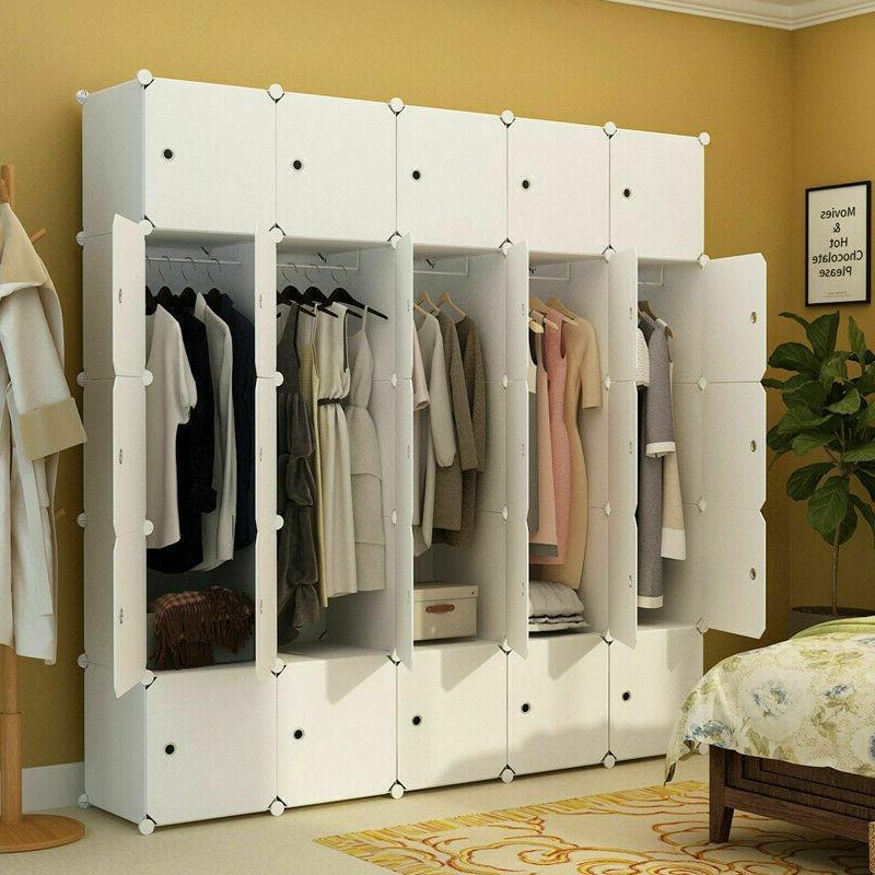 DIY Bedroom Wardrobe Closet Armoire Storage Organizer w/ Doo