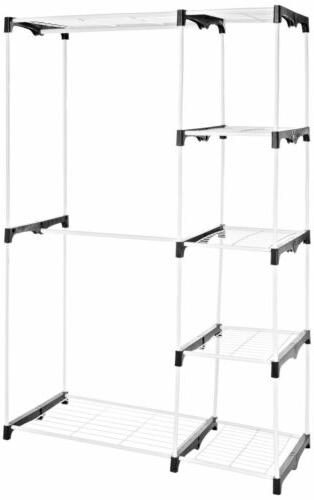 double rod freestanding closet white wardrobe pallet
