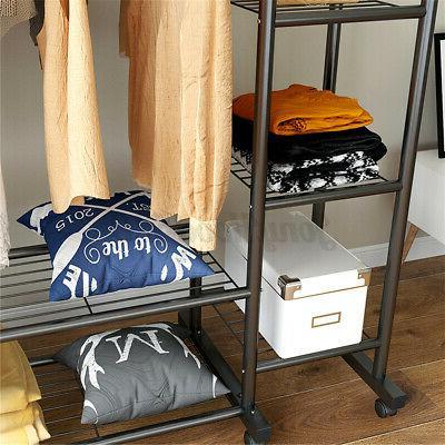 Double Rolling Garment Rack Storage Shelf
