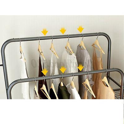 Double Rolling Garment Clothes Rack Hanger Storage Shelf