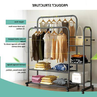 Double Garment Clothes Rack Hanger Home Storage Organizer