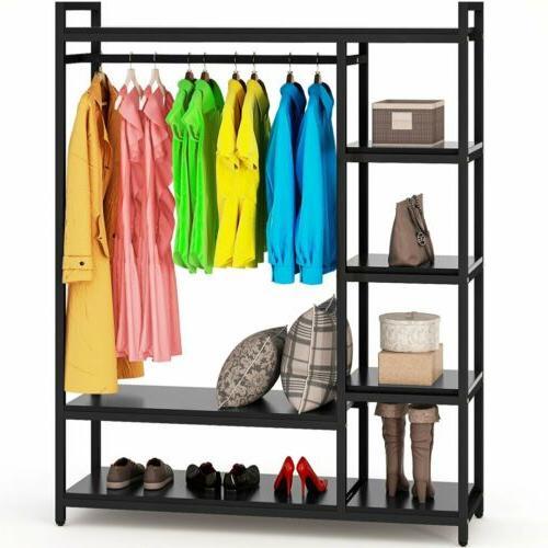 Portable Clothes Hanger Shelf Rail Rack