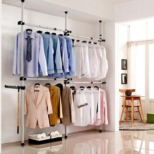 Heavy Duty Adjustable Garment Rack Shelf Clothes Bag Hat Han
