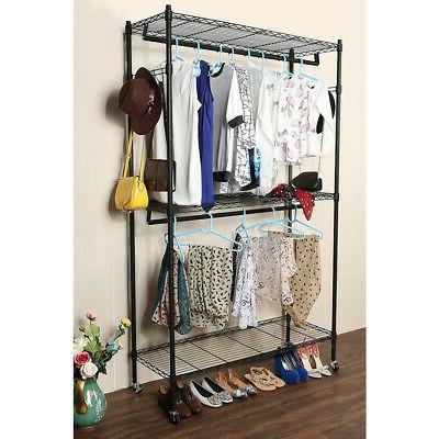 Heavy Duty Rolling Garment Rack Clothes Hanger Rods
