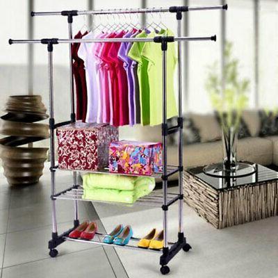 Heavy Duty Rolling Rack Clothes Shelf Hanger Rods Portable