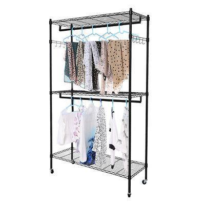 Heavy Rolling Garment Rack Shelf Double Hanger Portable Closet