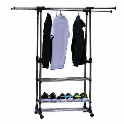 Heavy Duty Rolling Rack Shelf Hanger Rods Portable