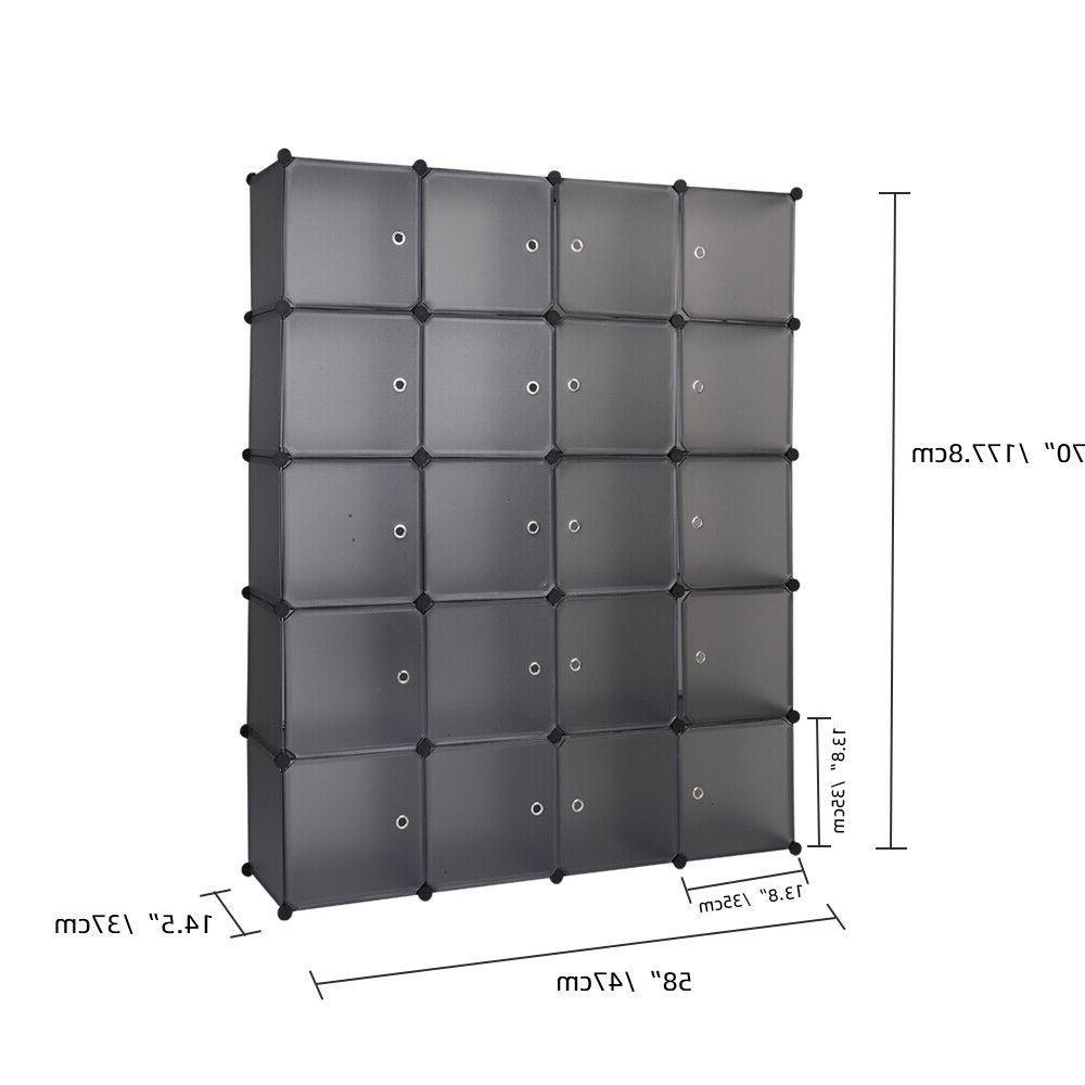 Home 20-Cube Wardrobe Cabinet Closet Shoes Shelf