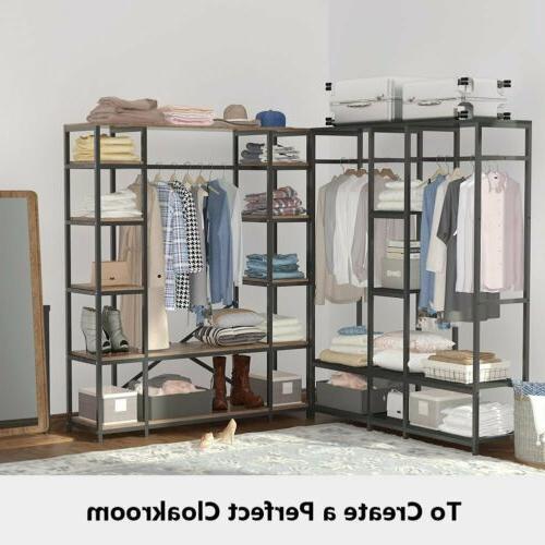 Large Wardrobe Clothes Garment Heavy Duty Rod Shelves