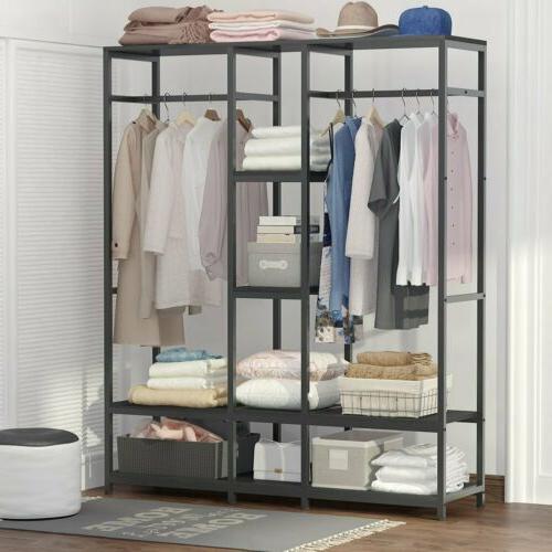 Large Closet Storage Clothes Garment Duty Rod & Shelves