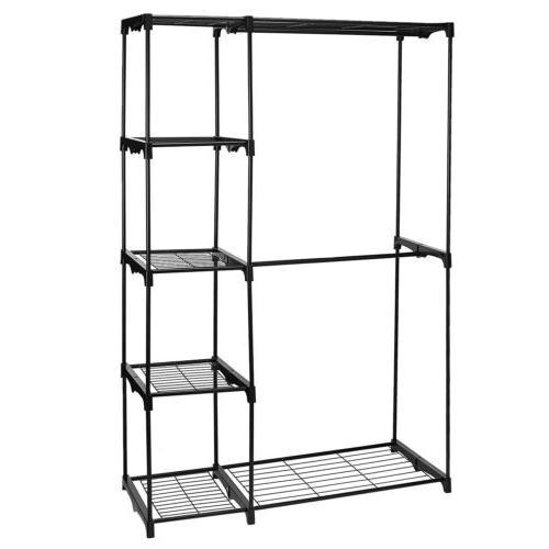 Closet System Wardrobe Shelves Double Rod Storage Rack