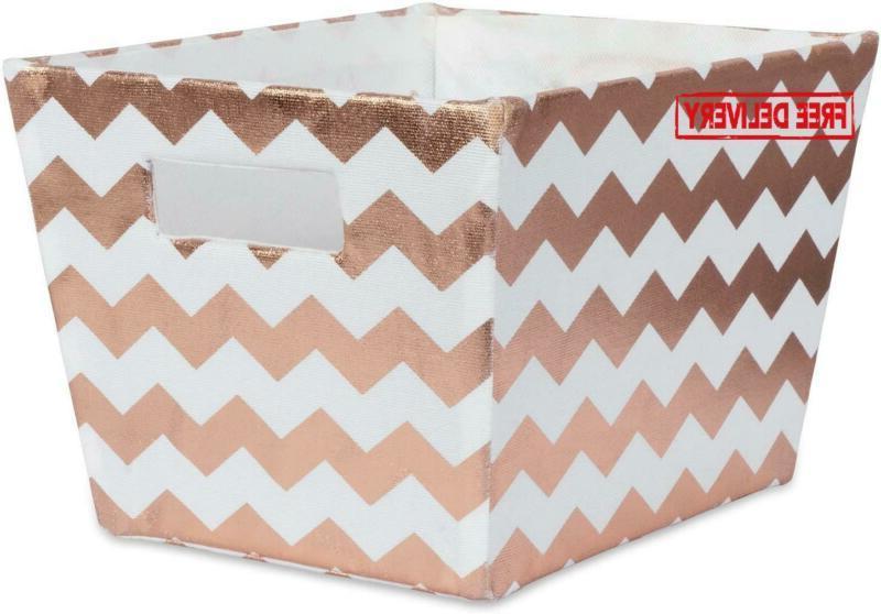 Dii Metallic Fabric Trapezoid Storage Container For Nurserie