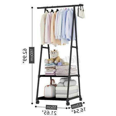 Movable Metal Clothes Holder Rack Shoe Shelf Hanger