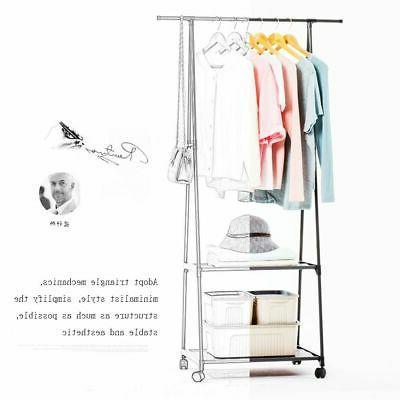 Movable Clothes Holder Rack Shoe Hanger