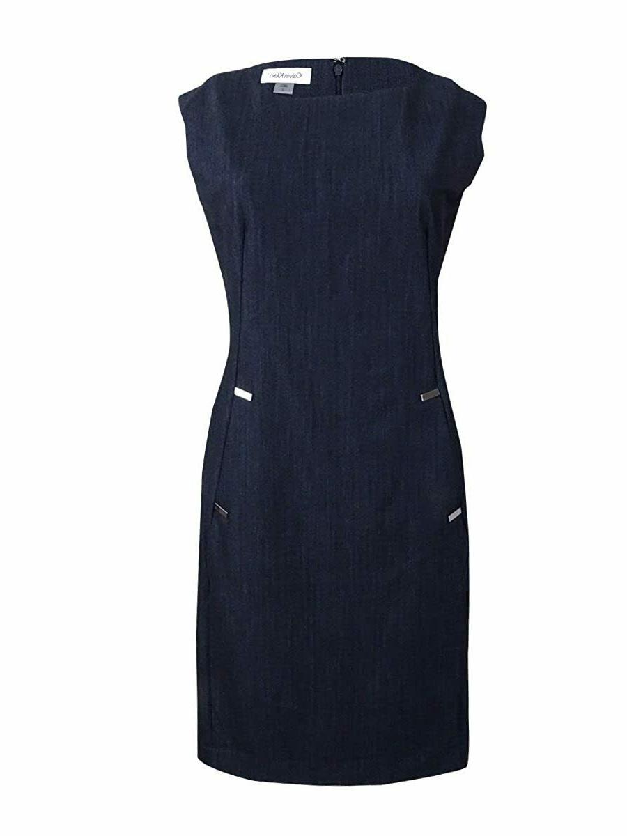Calvin Klein Elegant BLUE Sheath with Hardware Detail,