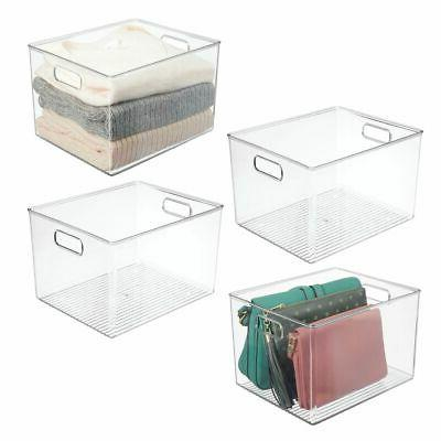 plastic closets storage organizer bin handles 12