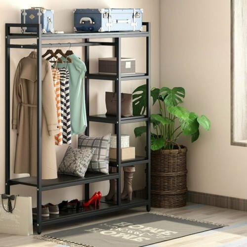 Portable Closet Clothes Garment 6-tier Shelf Rail