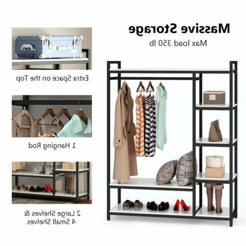 Portable Organizer Clothes Hanger Shelf Rail