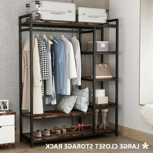 LITTLE Free-Standing Closet Organizer Heavy Duty Garment Rack Brown