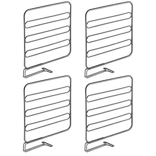 mDesign Versatile Metal Closet Shelf Separator for Organization in Bedroom, Bathroom, Kitchen - Install, Pack - Graphite