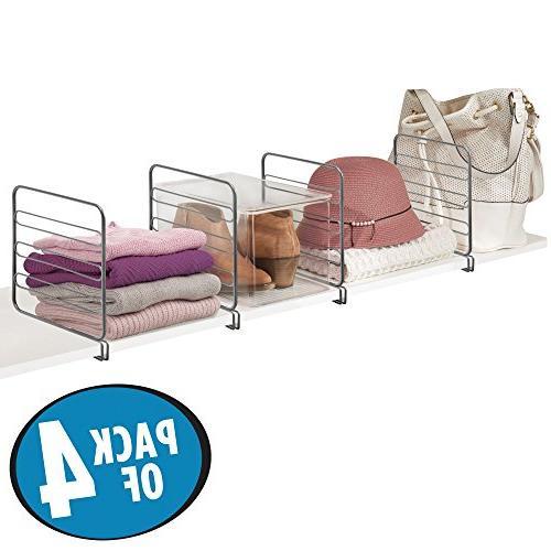 mDesign Versatile Closet Divider Separator for Organization Bathroom, Kitchen and - Easy Pack -