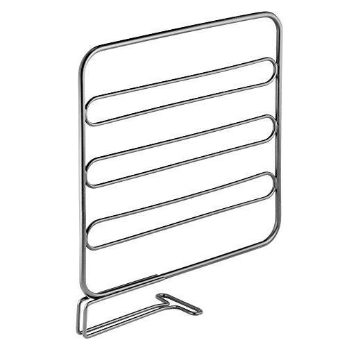 mDesign Metal Closet Shelf Separator Storage and Organization in Bedroom, Bathroom, Kitchen - Easy Install, 4 Pack