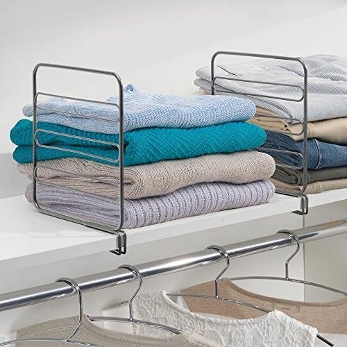 mDesign Versatile Closet Separator Storage Organization Bedroom, Kitchen Shelves - Easy 4 Pack - Graphite