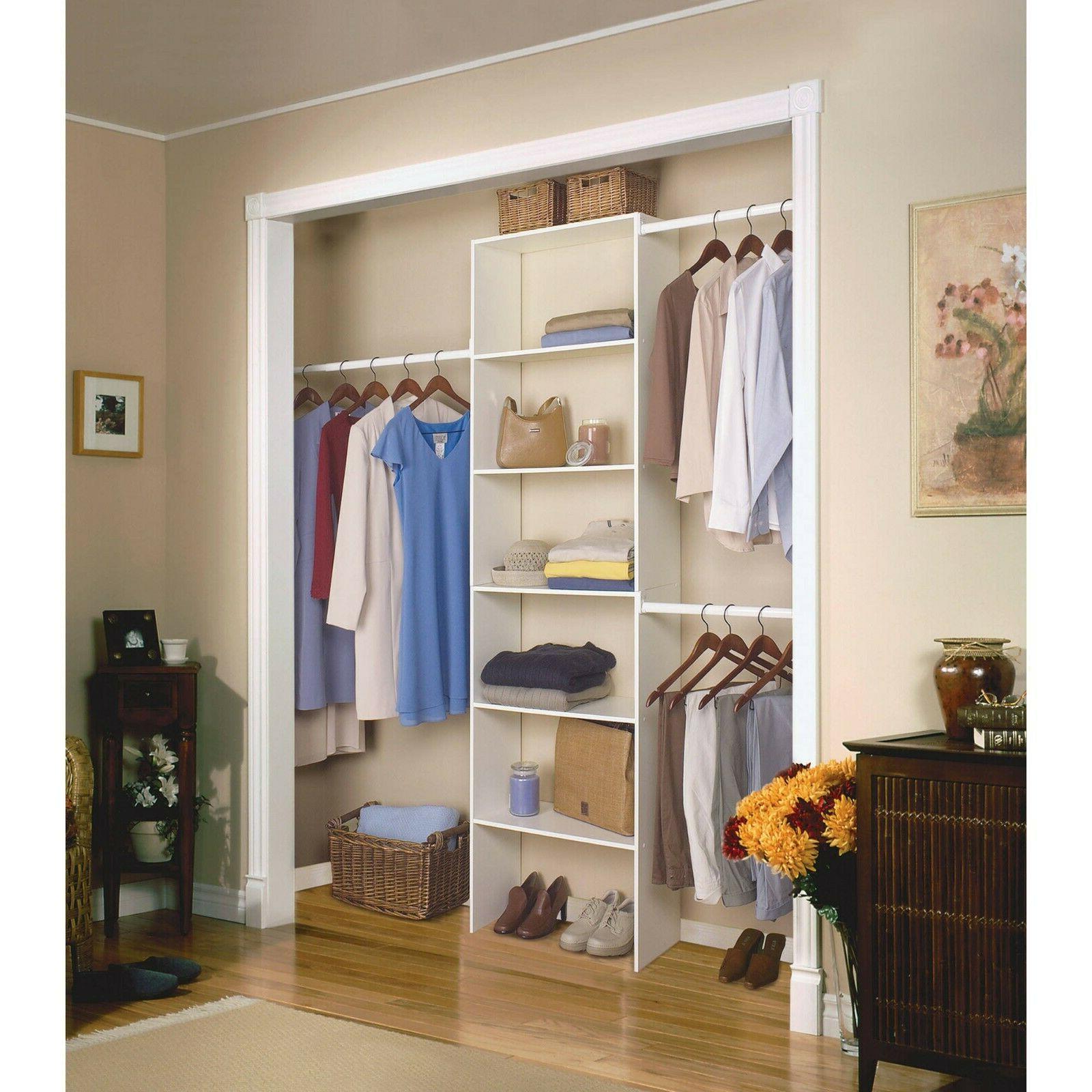 """Vertical Closet Organizer 24"""" Storage Shelf System Clothes S"""