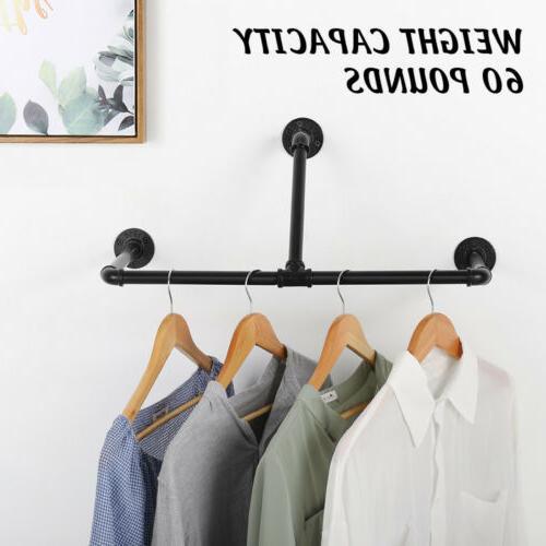 Industrial Wall Mounted Pipe Shelf Closet Organizer Garment