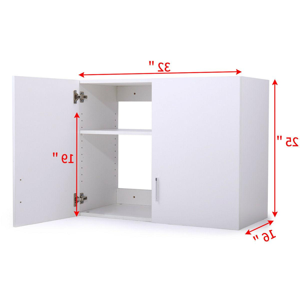 White Wall Mount Storage Cabinet Laundry Kitchen Bathroom