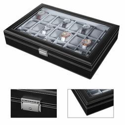 Large SONGMICS 24 Watch Glass Top Case Black Display Organiz