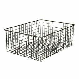 mDesign Large Metal Wire Storage Basket Bin with Handles for