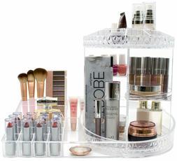 Makeup Organizer Station, 360° Rotating Adjustable Carousel