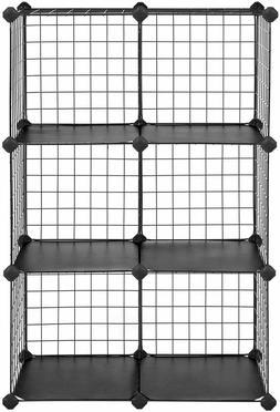 SONGMICS Metal Wire Storage 6 Cube Shelves Organizer Stackab