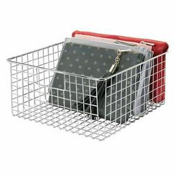 mDesign Metal Wire Storage Basket Bin with Handles for Close