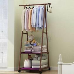 movable metal clothes holder rack shoe shelf