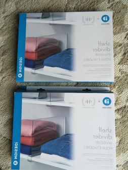 NEW 2--iDesign Shelf Divider/Closet Organizer Clear Acrylic