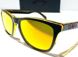 NEW* Oakley Frogskins Black Gold Eclipse Fire Iridium Sungla