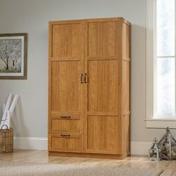 Oak Finish Large Armoire Wardrobe Storage Closet With Drawer