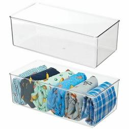 mDesign Plastic Drawer Organizer Bin for Closets - 2 Pack -