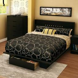 South Shore Platform Bed with Drawer and Headboard in Pure B