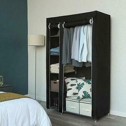 Portable Closet Storage Organizer Clothes Non-Woven Fabric W