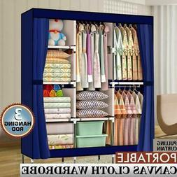 Portable Clothes Storage Closet Organizer Shelf Wardrobe Rac