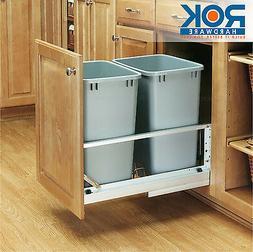 "Rev a Shelf Double Bin Pull-Out 15"" Cabinet Trash Recycling"
