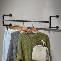 Rod Garment Rack For Closet Metal Wall Mounted Hanging Cloth