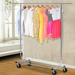 Rolling Clothes Rack Storage Hanging Garment Durable Dry Han