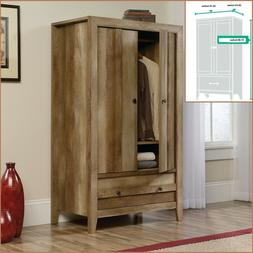 Rustic Oak Finish Armoire Wood Wardrobe Storage Cabinet Clos