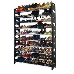 Shoe Rack 10 Tier 50 Pair Shelf Closet Organizer Storage Fre