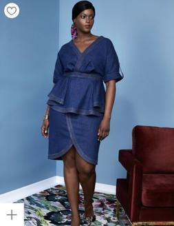 Eloquii Size 14 Denim Dress with Peplum Detail Blue New